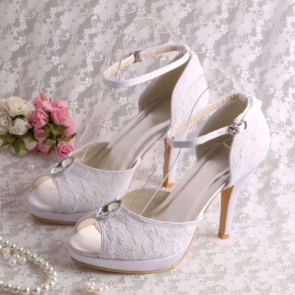 Ericdress Pretty Rhinestone Lace High Heel Wedding Shoes