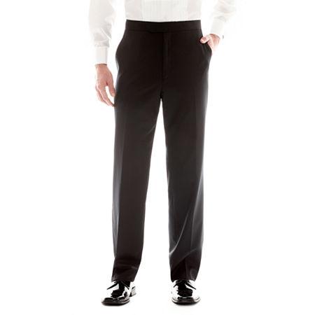 Stafford Flat-Front Tuxedo Pants, 42 29, Black