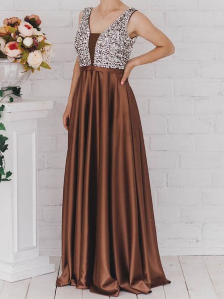 Milanoo Prom Dress V Neck A Line Sleeveless Floor Length Satin Tulle Beaded Party Dresses
