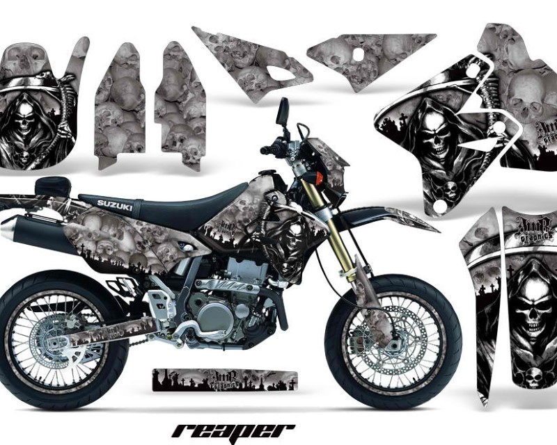 AMR Racing Graphics MX-NP-SUZ-DRZ400SM-00-18-RP S Kit Decal Sticker Wrap + # Plates For Suzuki DRZ400SM 2000-2018 REAPER SILVER