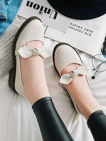 Milanoo Lolita Pumps Footwear Bows PU Leather Lolita Shoes