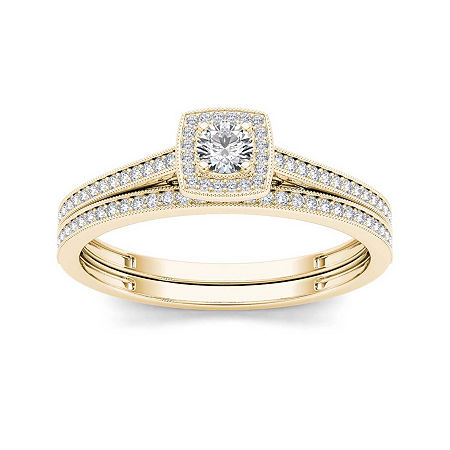 1/3 CT. T.W. Diamond 10K Yellow Gold Bridal Set, 9 , No Color Family