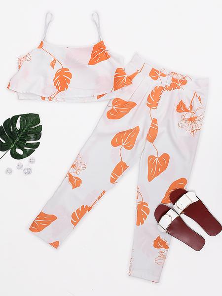 Yoins Orange Random Leaf Print Crop Top & Pants Suits