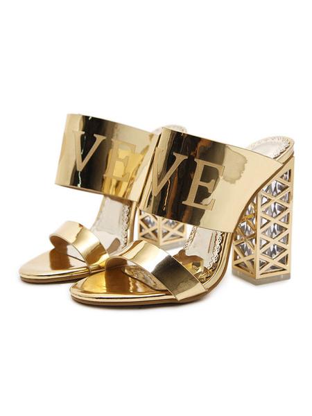 Milanoo High Heel Sandals Women Sandal Slippers Gold Open Toe Backless Sandal Shoes