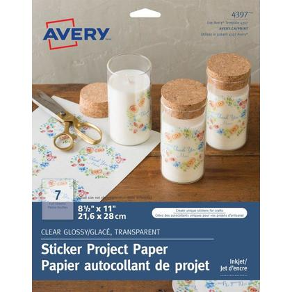 Avery@ Glossy Clear Sticker Project Paper, 8-1/2 x 11