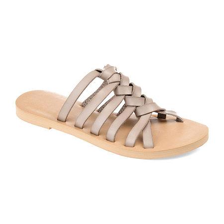 Journee Collection Womens Waverly Flat Sandals, 8 Medium, Beige