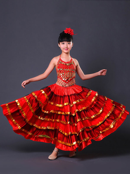 Milanoo Kids Belly Dance Costumes Flamenco Dress Paso Doble Costumes Spanish Skirt for Girls Halloween