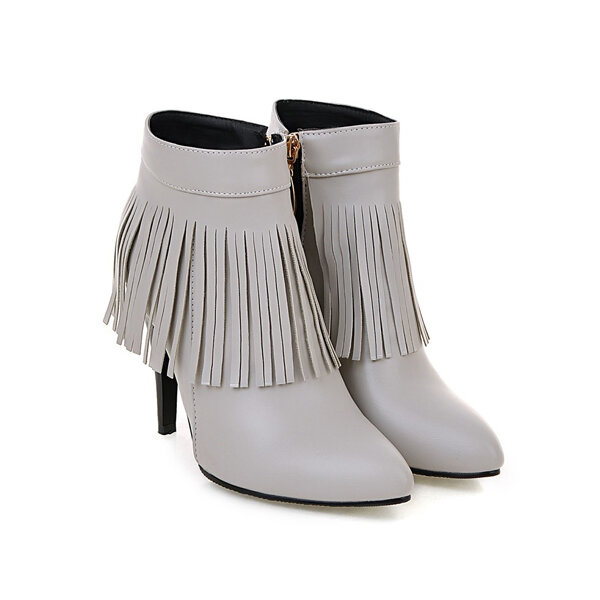 Tassel Ankle High Heel Boots Sexy Tassel Pointed Toe Boots Ladies Fashionable Boots