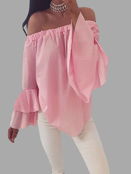 Yoins Chiffon Off-The-Shoulder Top in Pink