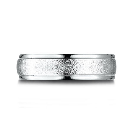 Mens 10K White Gold 6mm Band, 8 1/2 , No Color Family