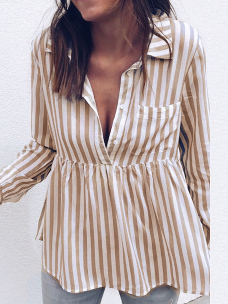 Ericdress Lapel Stripe Button Long Sleeve Casual Blouse