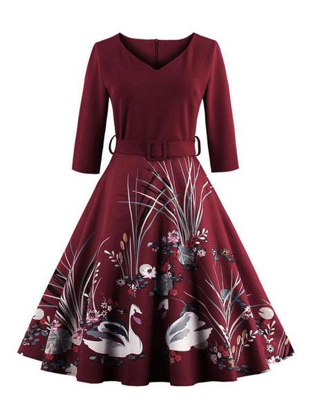 Milanoo Burgundy Vintage Dress V Neck 3/4 Length Sleeve Floral Printed Slim Fit Pleated Skater Dress