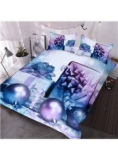 Christmas Gifts 3D Purple Comforter 3-Piece Soft Comforter Sets with 2 Pillowcases