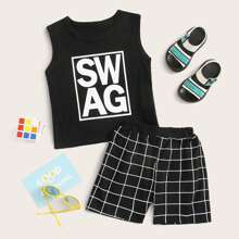 Toddler Boys Letter Graphic Tank Top With Grid Shorts