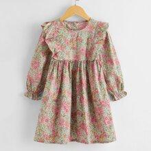 Toddler Girls Allover Floral Ruffle Trim Smock Dress