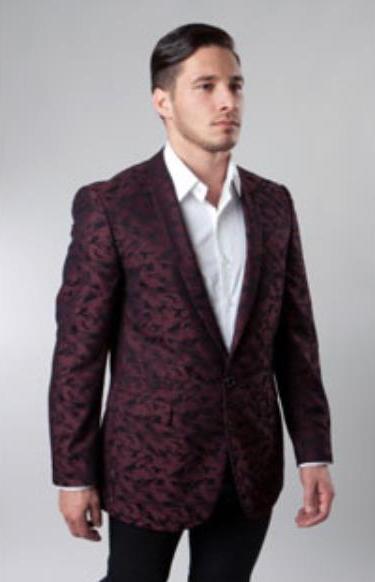 1 Button Burgundy Single Notch Pattern Jacket Side Vents Slim Fit