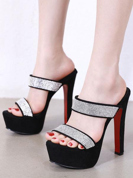 Milanoo Women\'s Sandal Black Micro Suede Upper Open Toe Backless Sandal