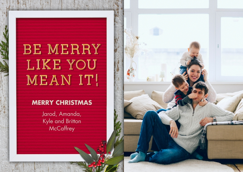 Christmas Photo Cards 5x7 Cards, Premium Cardstock 120lb with Scalloped Corners, Card & Stationery -Be Merry Letter Board