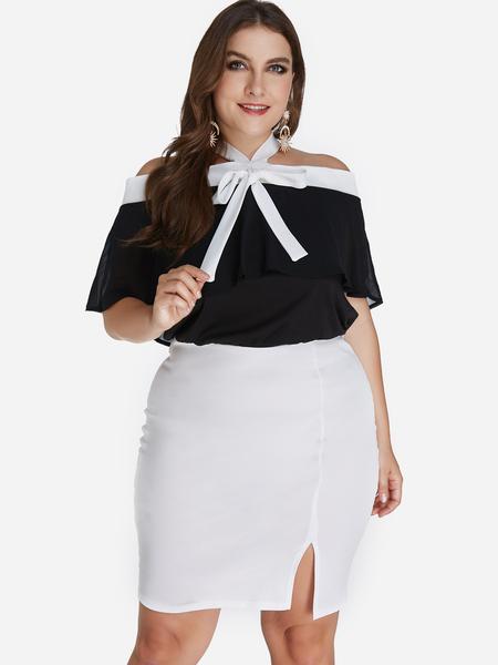 Yoins Plus Size Color Block Bowknot Strapless Slit Hem Dress