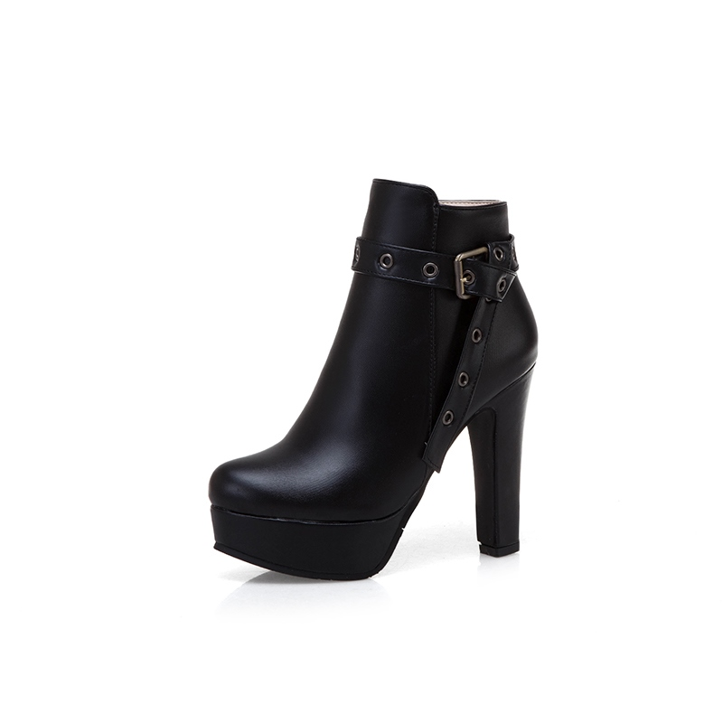 Ericdress Side Zipper Chunky Heel Round Toe women's Ankle Boots