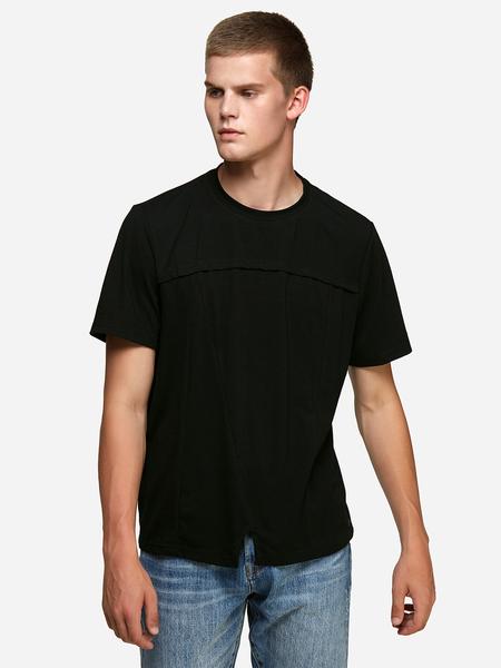 Yoins Black Asymmetrical Design Crew Neck Men's T-Shirt