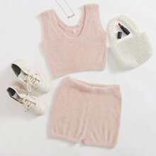 Crop Fuzzy Knit Tank Top & Shorts Set