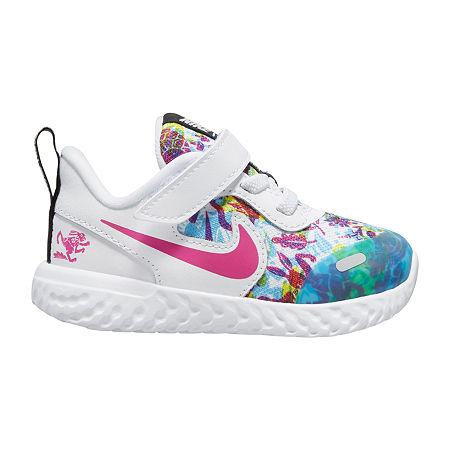 Nike Revolution 5 D2n Toddler Girls Running Shoes, 10 Medium, White