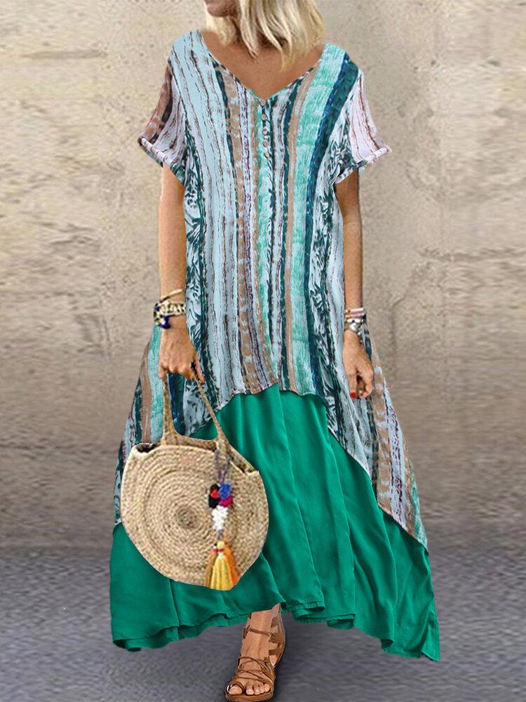 Striped Print Patchwork Short Sleeve Plus Size Vintage Maxi Dress