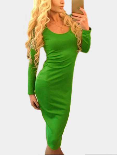 Yoins Green Lace-up Design Round Neck Long Sleeves Party Dress
