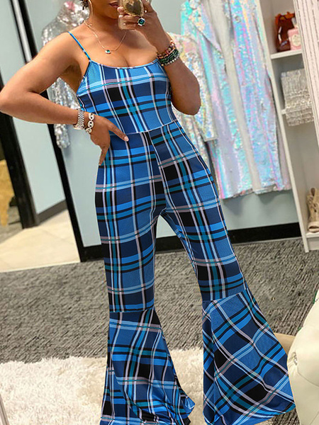 Milanoo Plaid Jumpsuit Flared Leg Sleeveless Summer One Piece Outfit