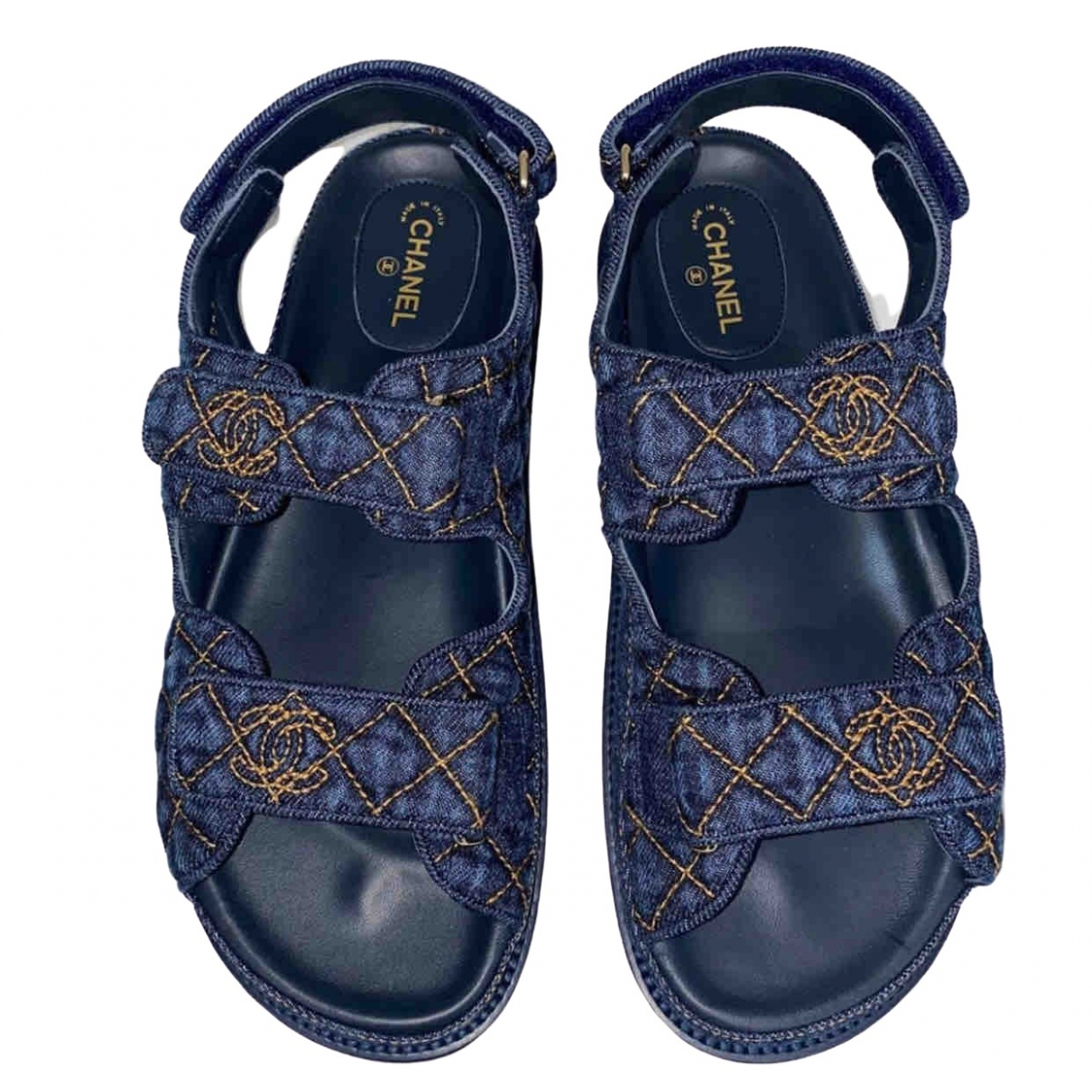 Chanel Dad Sandals Blue Cloth Sandals for Women 35.5 IT