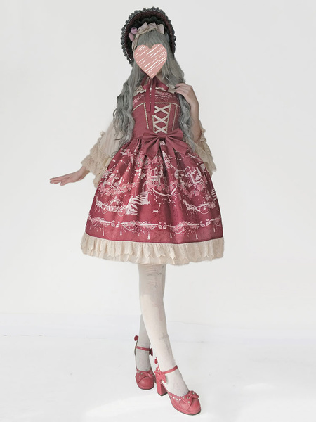 Milanoo Sweet Lolita Dress JSK Infanta Champs Elysees Print Bow Ruffle Jacquard Dark Red Lolita Jumper Skirt Original Design