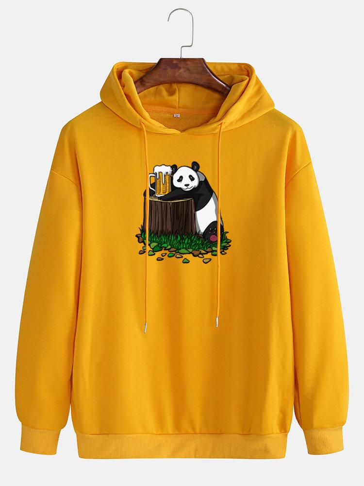 Mens Cotton Panda Beer Print Drop Shoulder Casual Drawstring Hoodies