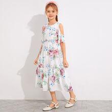 Girls Cold Shoulder Ruffle Trim Floral Print Dress
