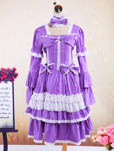 Milanoo Black Cotton Gothic Lolita Dress