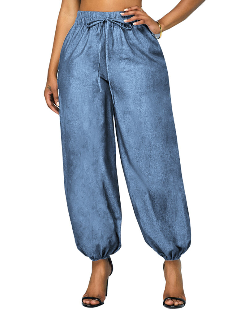 Elastic Waist Pockets Plus Size Harem Denim Pants for Women