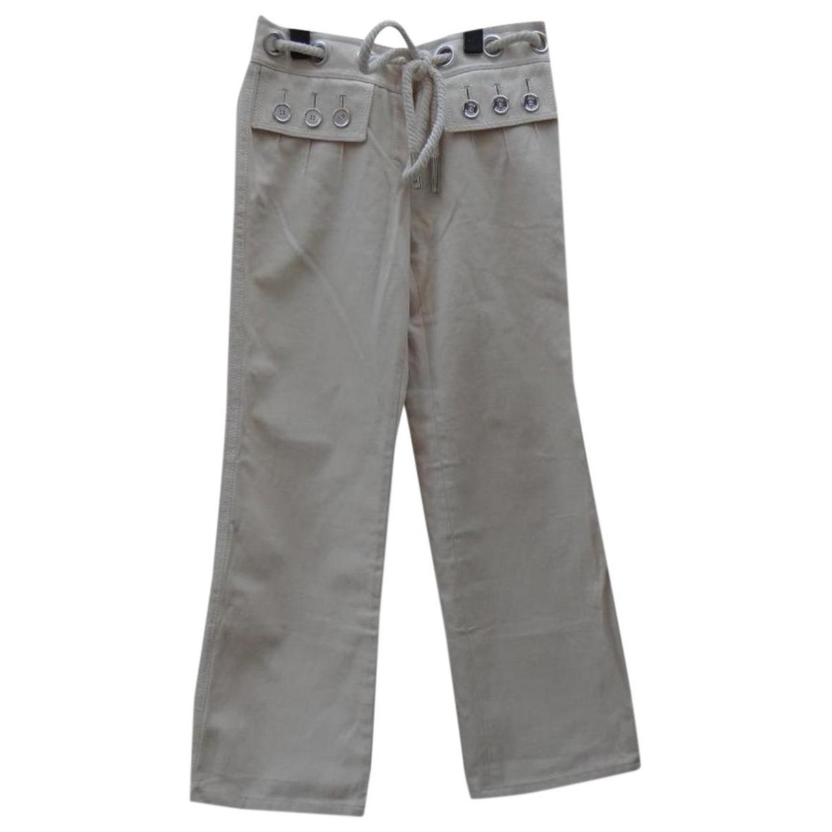 Louis Vuitton \N Ecru Cotton Trousers for Women 40 FR