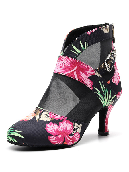 Milanoo Latin Dance Shoes Black Round Toe Floral Printed Ballroom Dance Boots