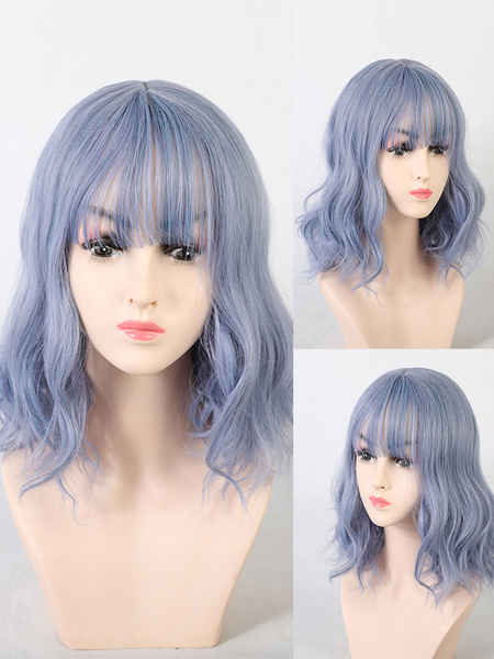 Milanoo Medium Wigs Synthetic Wigs Baby Blue Curly Rayon Medium Women Medium Wig
