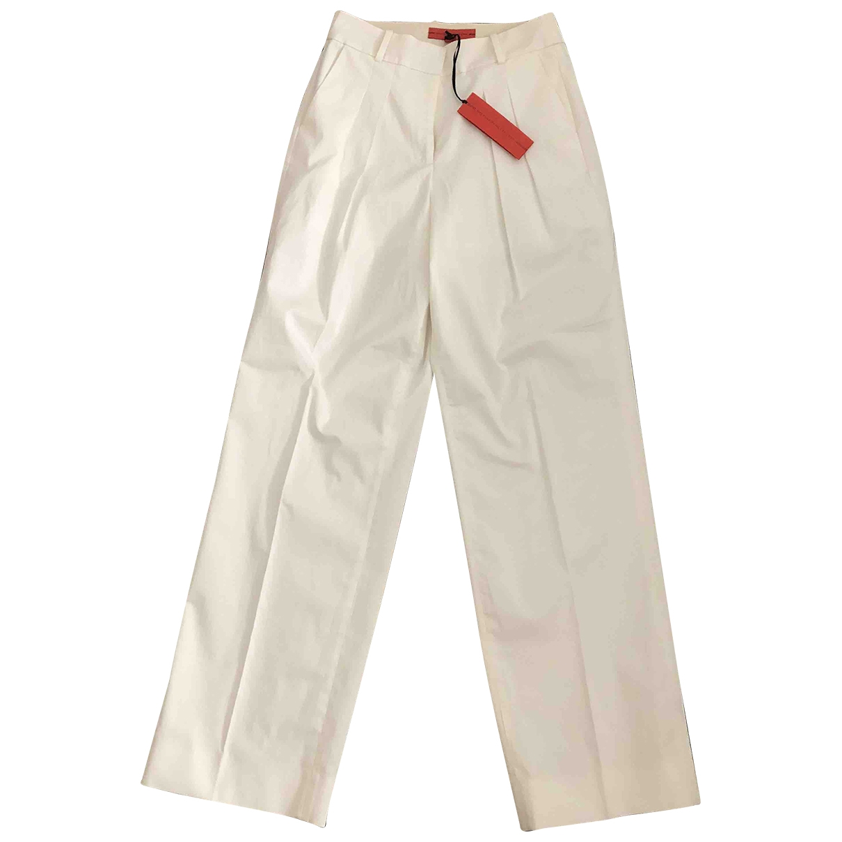 Hilfiger Collection \N White Cotton Trousers for Women 4 US
