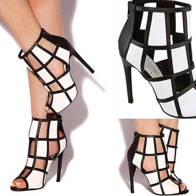 Ericdress PU Peep Toe Zipper Hollow Stiletto Heel Women's Sandals