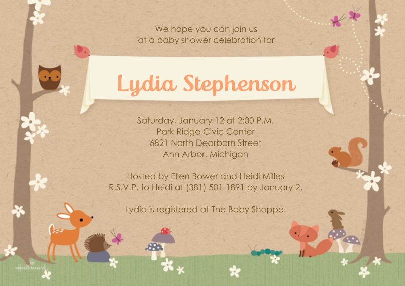 Baby Shower Invitations 5x7 Cards, Premium Cardstock 120lb with Rounded Corners, Card & Stationery -Sweet Woodland
