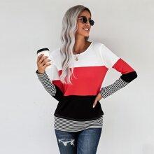 Stripe Print Colorblock T-Shirt