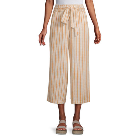 a.n.a Mid Rise Belted Cropped Pants, Small , Yellow