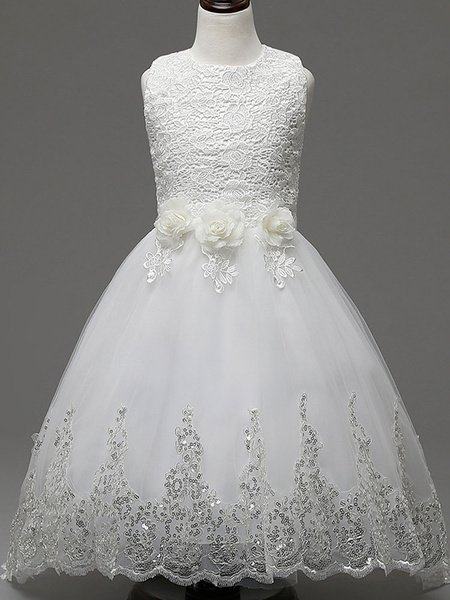 Milanoo White Flower Girl Dresses Princess Lace Sequins Ribbon Bow Tulle Applique Kids Pageant Dresses