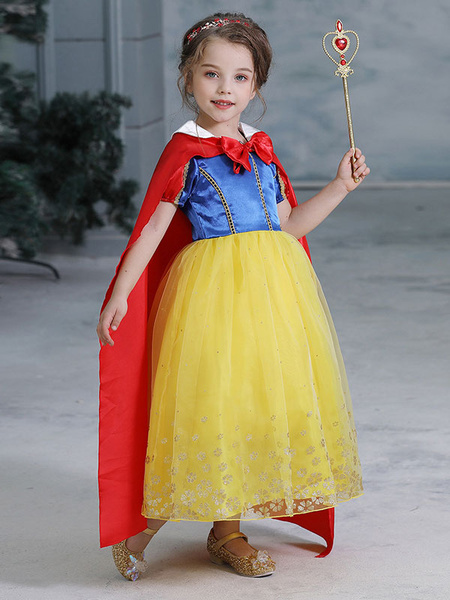 Milanoo Child Cartoon Cosplay Costumes Snow White Yellow Cotton Blend Dress Kids Outfits Halloween
