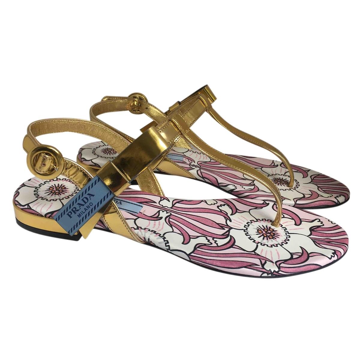 Prada \N Gold Leather Sandals for Women 37 EU