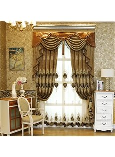 Classical Luxury Embroidery Grommet Top Living Room and Bedroom Sheer Curtain