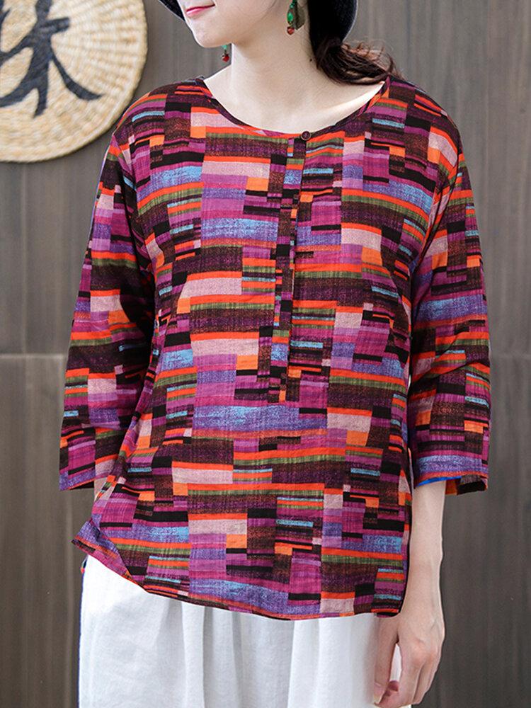 Vintage Print Split 3/4 Sleeve Plus Size T-shirt