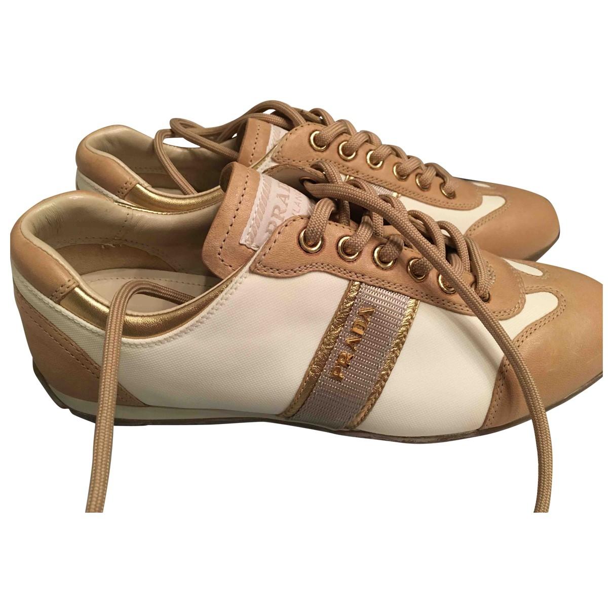 Prada \N Beige Leather Trainers for Women 36.5 EU